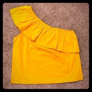 ☀️ J.Crew Yellow One Shoulder Ruffle Top ☀️